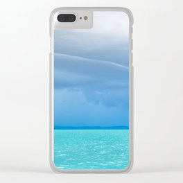 Before summer storm at a turquoise lake Clear iPhone Case