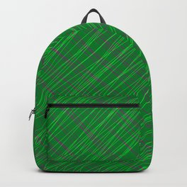 Wicker ornament of their green threads and blue intersecting fibers. Backpack
