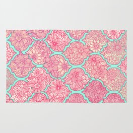 Moroccan Floral Lattice Arrangement in Pinks Rug