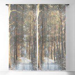 Forest Snow Scene Sheer Curtain
