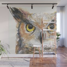 Owl Watercolor Great Horned Owl Painting Wall Mural