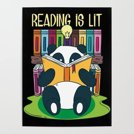 Funny Reading Is Lit English Teacher Avid Tea Gift Poster
