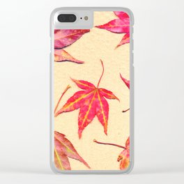 Japanese maple leaves - coral red on pale yellow Clear iPhone Case