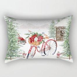 Winter Bicycle Rectangular Pillow