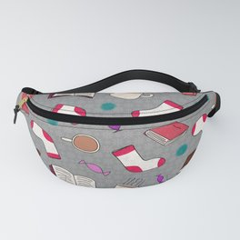 Bookworm Print on Gray Fanny Pack