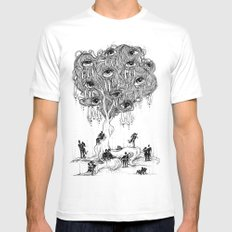 EscapeEyes White Mens Fitted Tee MEDIUM
