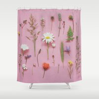 cassia beck Shower Curtains featuring Wild Flowers by Cassia Beck
