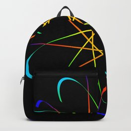 Guilloche Violet and galactic signs. Four neon objects for a certificate or a voucher. Backpack