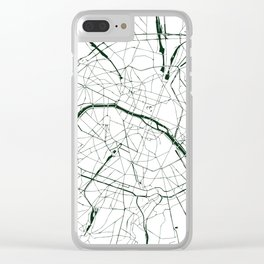 Paris France Minimal Street Map - Forest Green and White Clear iPhone Case