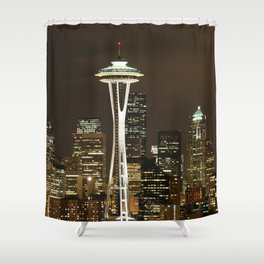 Seattle Space Needle at Night - City Lights Shower Curtain
