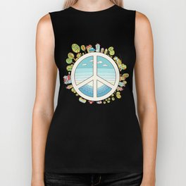 peaceful bright Pacific planet Biker Tank