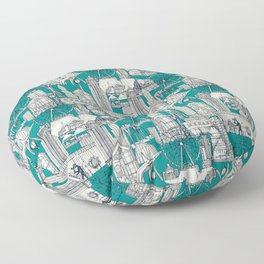 Seattle indigo teal Floor Pillow