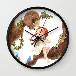 A girl playing violin Wall Clock