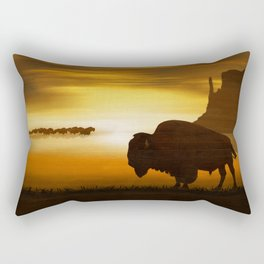 The lonely bison Rectangular Pillow