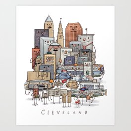 Cleveland Skyline group portrait Art Print
