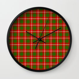 Tartan Style Green and Red Plaid Wall Clock