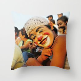 street clown, clown, street, performance, people, photo, society Throw Pillow