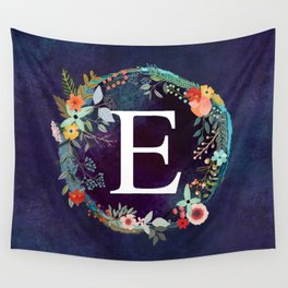 Personalized Monogram Initial Letter E Floral Wreath Artwork Wall Tapestry