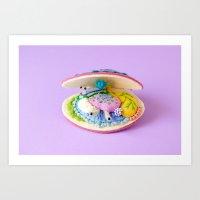 Anatomy of Pink Deep Water Clam Art Print