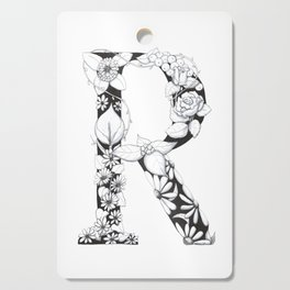 Floral Pen and Ink Letter R Cutting Board
