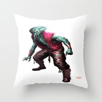 cthulhu Throw Pillows featuring CTHULHU by Yoncho Yonchev