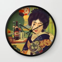 Vintage Japanese Beer Colorful Ad Wall Clock