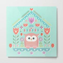 Scandinavian Folk Style Owl Bird House Metal Print