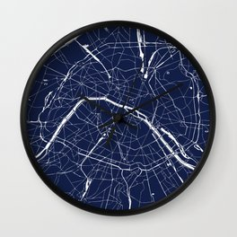 Paris France Minimal Street Map - Navy Blue and White Reverse Wall Clock