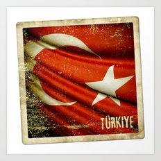 Grunge sticker of Turkey flag Art Print