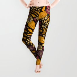 Purple, Yellow, Magenta & Gold Floral Pattern Leggings