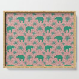 Wild African elephants, exotic tropical leaves animal botanical sand color ethnic tribal pattern Serving Tray