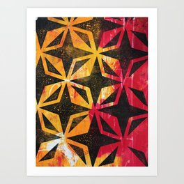 Grid Sparks Orange and Red Art Print