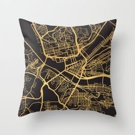 PITTSBURGH PENNSYLVANIA GOLD ON BLACK CITY MAP Throw Pillow