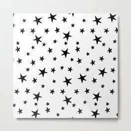 Stars - Black on White Metal Print