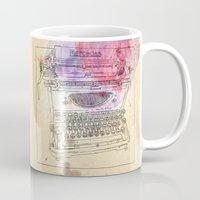 typewriter Mugs featuring typewriter by Sabine Israel