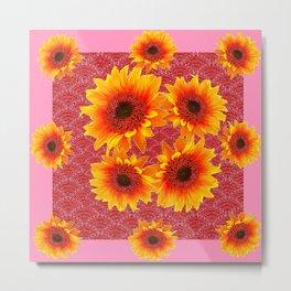 Strawberry Pink Organic Sunflowers Art Metal Print