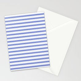 Horizontal Cobalt Blue and White French Mattress Ticking Stripes Stationery Cards