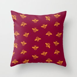 Gold yellow bee in red background Throw Pillow