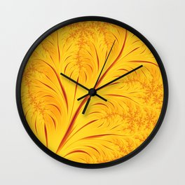 Fall Leaves Abstract Autumn Yellow Orange Gold Leaf Pattern Wall Clock