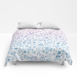 Cute & Sweet Monsters / Funny Clouds and Diamonds Comforters