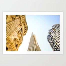 pyramid building and modern building and vintage style building at San Francisco, USA Art Print