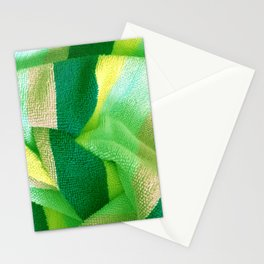 Green Stripe Textile Stationery Cards