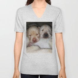 Little Polar Bears with yellow lab puppies Unisex V-Neck