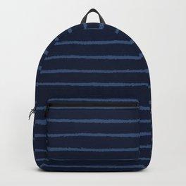 Hand Drawn Stripes Pattern Indigo Blue Grunge Backpack