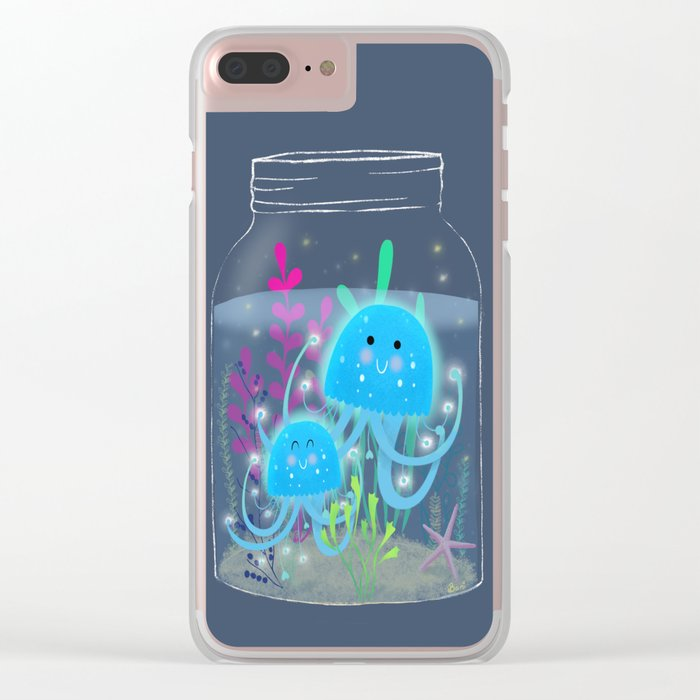 Vacation Memories With Jellyfish In A Jar Clear iPhone Case