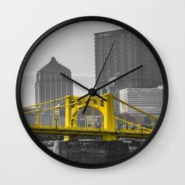 Pittsburgh Clemente Bridge Gold Print Wall Clock