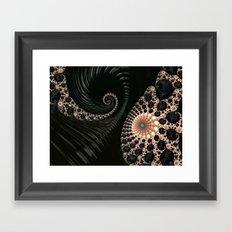 Elegant Black&Cream Fractal Twirl Framed Art Print