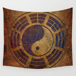 Purple Yin Yang Sign on Granite Wall Tapestry