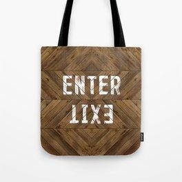 Enter Exit Wood Chevron Tote Bag