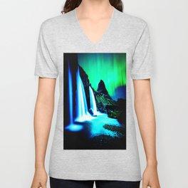 Aurora Borealis Waterfall Vibrant Unisex V-Neck